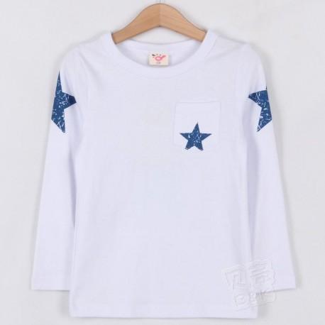 Camisetablanac estrella azul